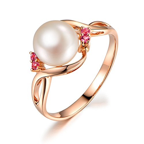 Solid 14k Rose Gold 8mm Akoya Freshwater Cultured White Pearl Pink Tourmaline Engagement Ring Split ()