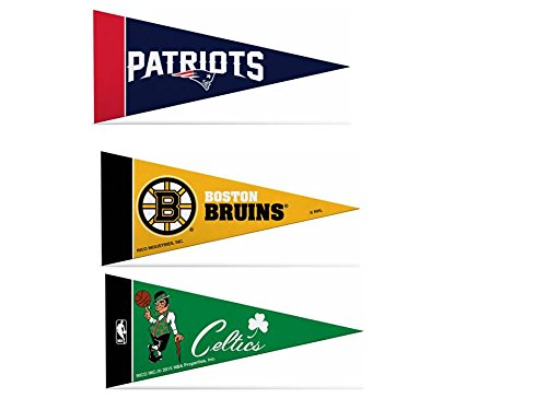 Zipperstop Officially Licensed Mini Pennants Fan Pack Set Includes Patriots, Bruins, Celtics 4