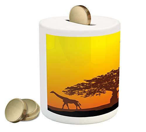 Ambesonne Silhouette Piggy Bank, Trees Savannah Desert Giraffe Gradient Illustration, Printed Ceramic Coin Bank Money Box for Cash Saving, Yellow Chocolate Charcoal Grey Marigold ()