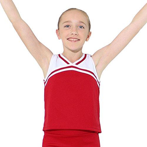 - Danzcue Girls Classic Cheerleaders Uniform Shell Top, Scarlet-White, X-Small