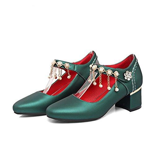 VogueZone009 Damen Rein Weiches Material Mittler Rund Zehe Schnalle Pumps Schuhe Grün