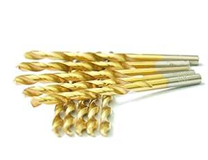 "DRILLFORCE,10 PCS,1/8"",HSS Titanium Coated Twist Drill Bits Set,,Metal drill, ideal for drilling on mild steel, copper, Aluminum, Zinc alloy etc."