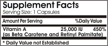 Vitamin A 25,000IU Emulsified Dry ~ 200 Capsules - No Additives ~ Naturetition Supplements