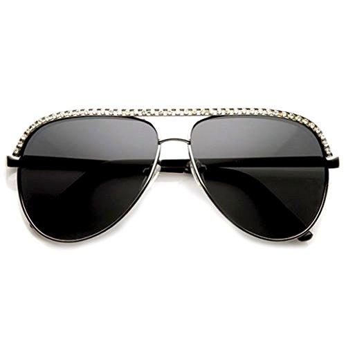 Stunner Womens Eyewear Métal Soleil Bling Celebrity Aviateur Pierres Strass De Mode Argente Emblem Lunettes wzABaqIqx
