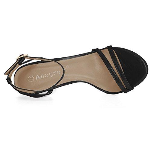 Toe Dress Sandals Ankle Open Black Women Strap Stiletto K Allegra Heel tOqATOx