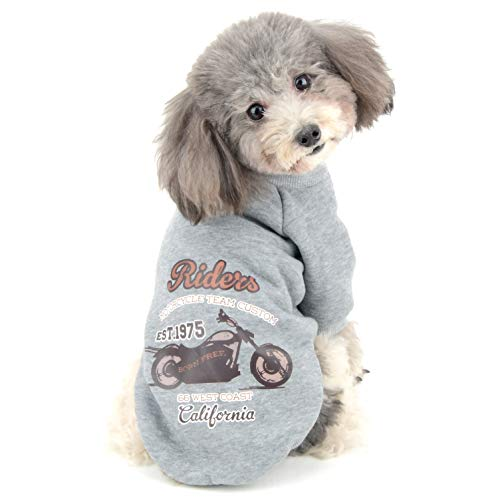 - Ranphy Small Dog Pullover Sweater Fleece Sweatshirt Girl Boy Winter Warm Hoodie Puppy Clothes Jacket Pet Sport Shirt for Cold Weather Gray L