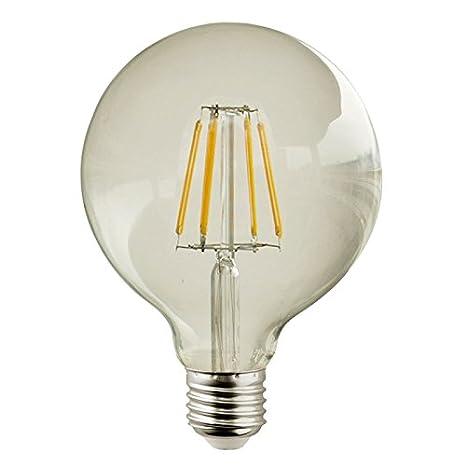 Bombilla Globo LED decó 7W de rosca E27 D125, luz cálida 2700K cristal transparente, cuenta con 750Lm.: Amazon.es: Iluminación