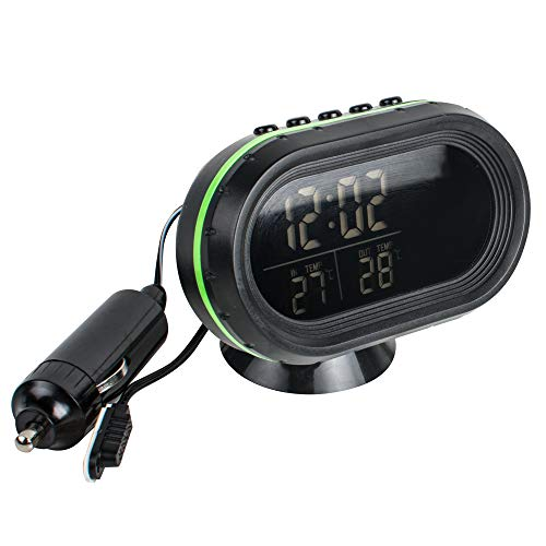 Digital Auto Thermometer Uhr MultifunktionTemperatur Voltmeter thermometer Elektronische Wecker Messgerät Spannung Anzeige mit LED Hintergrundbeleuchtung grün