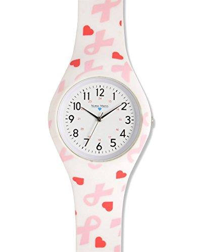 Nurse Mates Women's Printed Silicone Watch Pink Ribbon & - Ribbon Pink Uniform
