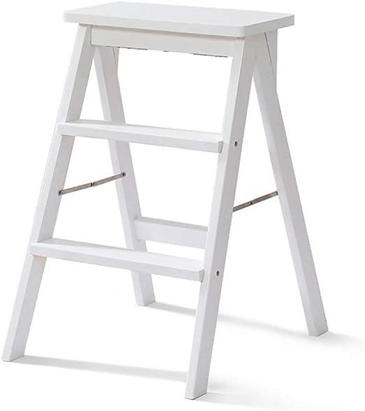 LANGYINH De Madera Escaleras de Mano Plegable Taburete,Multifuncional Subida Estante de la Escalera Portátil Alto Taburete Banco para Cocina, Oficina, Biblioteca,Teniendo Peso 150kg,Style3: Amazon.es: Hogar