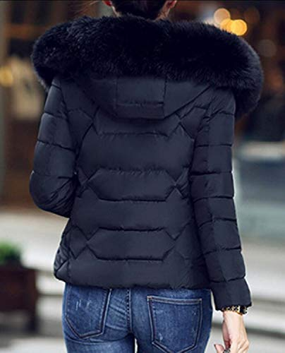 Coat Women's Puffer Black Downs Warm Outwear Hooded Faux Fur EKU Winter Parka vx1qwq4