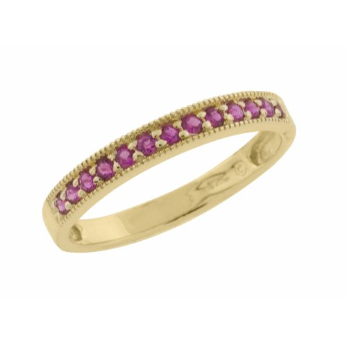 10k Yellow Gold Created Ruby Single Band Ring, Size 7