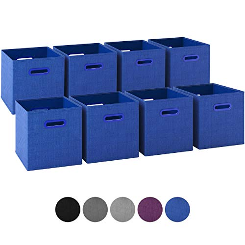 Royexe - Storage Cubes - (Set of 8) Storage Baskets | Features Dual Plastic Handles | Cube Storage Bins | Foldable Fabric Closet Shelf Organizer | Drawer Organizers and Storage (Blue)