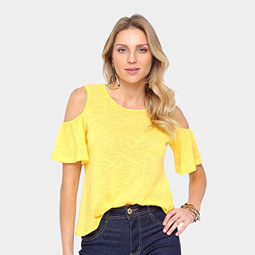 Blusa Drezzup Recorte Ombro Babados Feminina - Amarelo - G