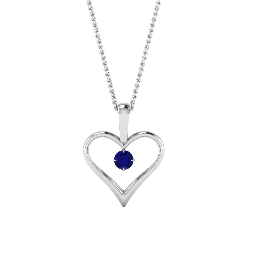 DTJEWELS Heart Pendant with 18 Chain 0.1 Ctw Round Cut Blue Sapphire Diamond in 14K Gold Plated .925
