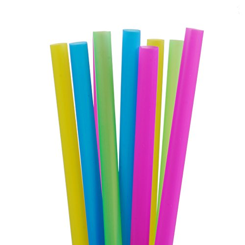 ALINK Assorted Bright Colors Jumbo Smoothie Straws Pack of 100 Pieces