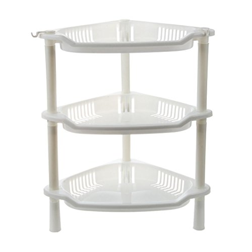 SODIAL(R) 3 Tier Plastic Corner Shelf Organizer Cabinet Bathroom Kitchen Sundries Storage Rack (Corner Bath Cabinet)
