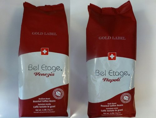 illy cafe AG - 2 Roast Pack of Bel Etage Gold Label Napoli and Venezia Blend Whole Bean Coffee 1kg or 2.22lbs each