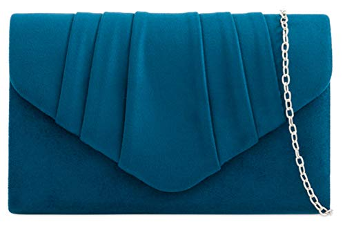 HandBags Pleated Suede Evening Teal Bag Design Womens Party Clutch Girly Faux RdqCwFF