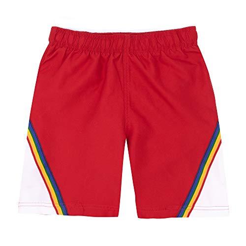 (LAGUNA Vintage Boys Color Block Rainbow Volley Boardshorts Swim Trunks, UPF 50+, Red/White, 8)