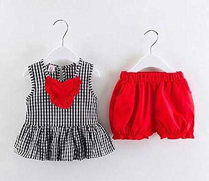 Summer Girls Clothing Set Fashion Cotton Plaid Vest+Short 2pcs Suits Children Casual Clothes Set
