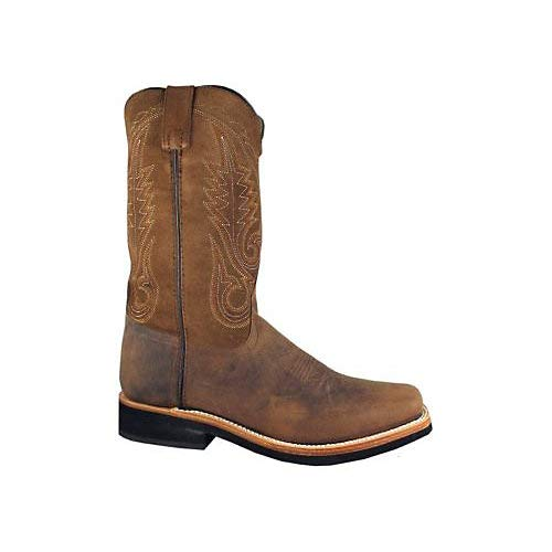 (Smoky Mountain Boots Mens Boonville Brown Distress Leather Square Toe 13)
