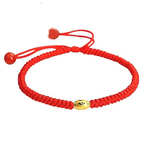Be Nice Handmade Unisex Kabbalah Red String Bracelet with lucky gold beads- Good for Wealth and Love (7 inches, 1 bead)