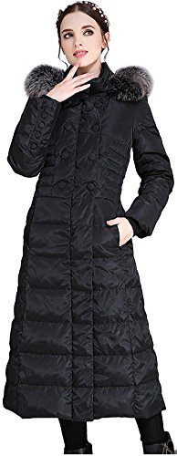 ilishop Women's Thickened Winter Coat Maxi Down Jackets With Hood Black 12-14