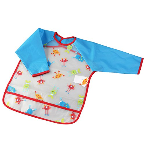 NUOLUX Art Smock Toddler Waterproof Feeding Bib Smock with Long Sleeves for Baby