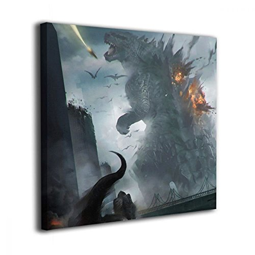 Little Monster Godzilla Attack Tyrannosaurus Rex Framed and Stretched Printed On Canvas Home Decor Comics Art for Kids Bedroom Bathroom ()