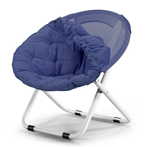 Washable folding chair / adult moon chair / sun chair / lazy chair / sun lounger / folding chair / round chair / sofa chair / solid color Home folding chair / lazy couch / ( Color : Navy blue ) by Folding Chair
