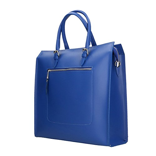 Chicca Borse Bolso en Piel genuina 35x36x12 Cm Azul