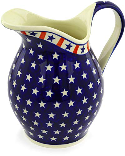 Polish Pottery 63 oz Pitcher (Americana Theme) + Certificate of Authenticity