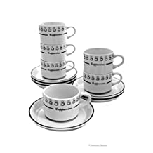 Set 6 White & Black Italian-Cafe Coffee 7oz Cappuccino Coffee Cups and Saucers