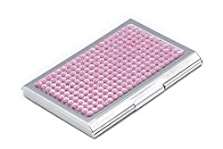 Rose Bling Rhinestones Stainless Steel Business Card Case