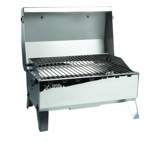 - Kuuma Premium Stainless Steel Mountable Gas Grill w/Regulator by Camco -Compact Portable Size Perfect for Boats, Tailgating and More - Stow N Go 125