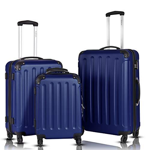 (Goplus 3Pcs Luggage Set, Hardside Travel Rolling Suitcase, 20/24/28 Rolling Luggage Upright, Hardshell Spinner Luggage Set with Telescoping Handle, Coded Lock Travel Trolley Case (Dark Blue))