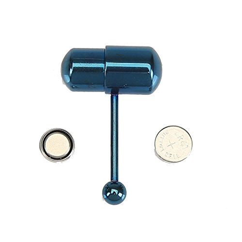 ating Tongue Rings Stud Barbell Body Piercing Kit With 2 Batteries Blue (Vibrating Tongue Barbells)