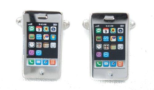 Smartphone Phone Style Cufflinks Rhodium Plated Cuff Links