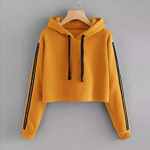 Hoodie Morwind Womens Blouse Sleeve Long Pullover Tops Striped Hooded Yellow Sweatshirt Jumper 1TIqIprwd