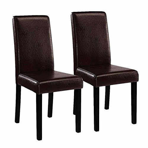Alitop Set of (2) Brown Elegant Design Leather Contemporary Dining Chairs