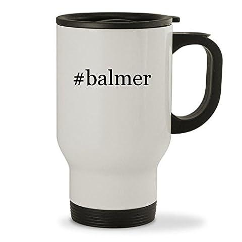 #balmer - 14oz Hashtag Sturdy Stainless Steel Travel Mug, White (Balmer Swiss Noble Watch)