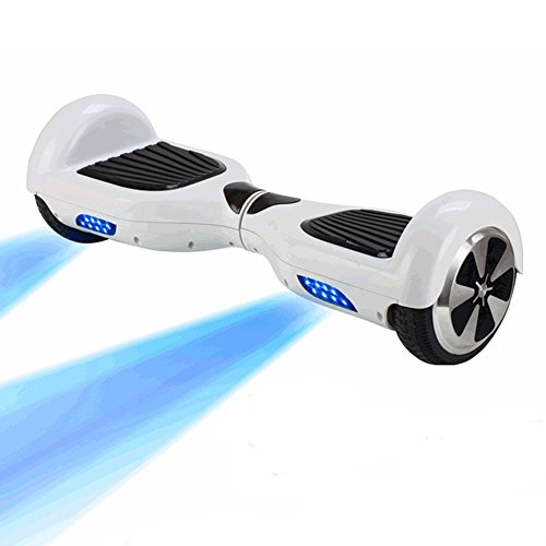 Keyecu Self Balancing Electric Unicycle Mini Scooter hover boards 2 Wheels With Cool Blue Led Light (White)