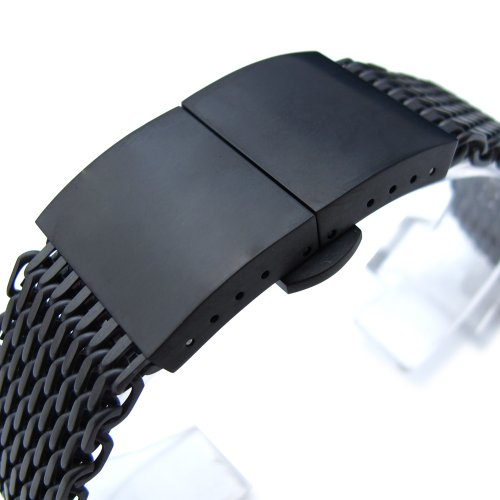20mm Ploprof 316 SS Wire ''SHARK'' Mesh Milanese Watch Band, Dome Deployant, Black, BB by 20mm Mesh Band (Image #1)