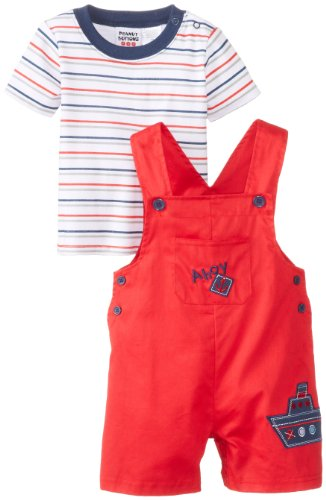 Peanut Buttons Baby-Boys Infant Boy Ship Shortall Set, Red, 24 Months