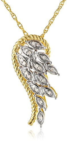 Yellow Gold-Plated Sterling Silver Angel Wing Diamond Pendant Necklace (.05 cttw)