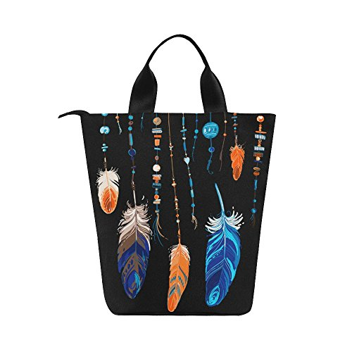 InterestPrint Ethnic Feathers Nylon Cylinder Lunch Bag Tote Shopping Handbag, Boho Dream Catcher Reusable Large Lunchbox Grocery Bag - Cylinder Tote Purse