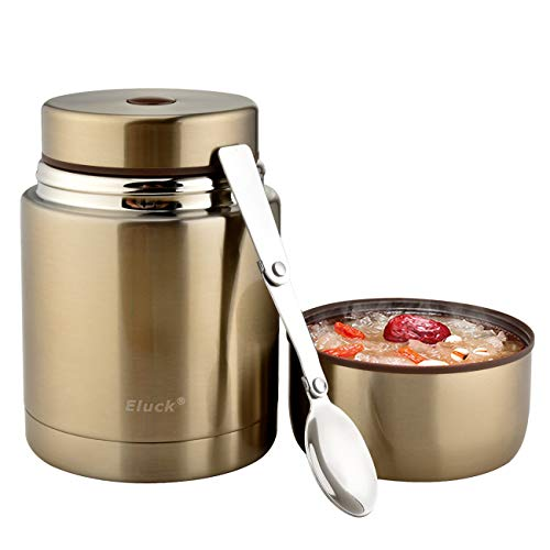 Eluck Food Thermos, Stainless Steel Food Jar Soup Container for Hot & Cold Food with Foldable Spoon, 27 oz Double Wall Vacuum Insulated Wide Mouth Thermos for Kids, Students and Adults(champagne gold)