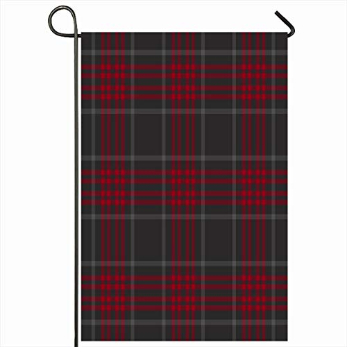 Ahawoso Outdoor Garden Flag 12x18 Inches White Black Gray Plaid Pattern Abstract Winter Red Cabin Checked Checkered Chic Christmas Kilt Seasonal Double Sides Home Decorative House Yard Sign ()
