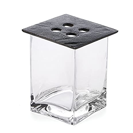 Amazon Skalny Square Clear Glass Vase With Cast Iron Lid 3 X